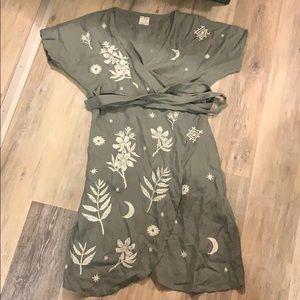 Hill Bird Wild Rose and Nettle Dress Linen Sz S/M